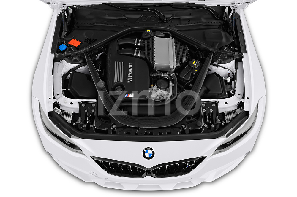 Car stock 2019 BMW m2 competition Base 2 Door Coupe engine high angle detail view