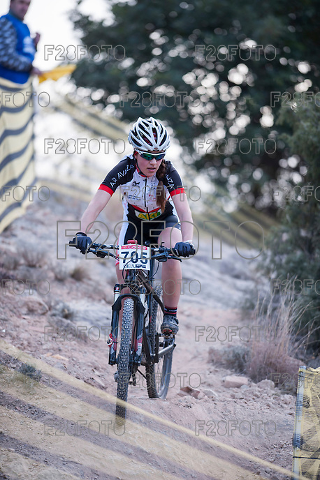 Chelva, SPAIN - MARCH 6: Sara Trigo during Spanish Open BTT XCO on March 6, 2016 in Chelva, Spain