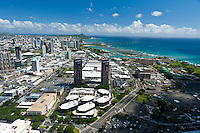 Aerial of Kakaako to Diamond Head with Waterfront Plaza in foreground