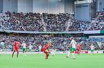 Stockholm 2014-05-04 Fotboll Superettan Hammarby IF - IFK V&auml;rnamo :  <br /> Vy &ouml;ver planen i Tele2 Arena under matchen med Hammarbys supportrar i bakgrunden<br /> (Foto: Kenta J&ouml;nsson) Nyckelord:  Superettan Tele2 Arena Hammarby HIF Bajen V&auml;rnamo  supporter fans publik supporters inomhus interi&ouml;r interior