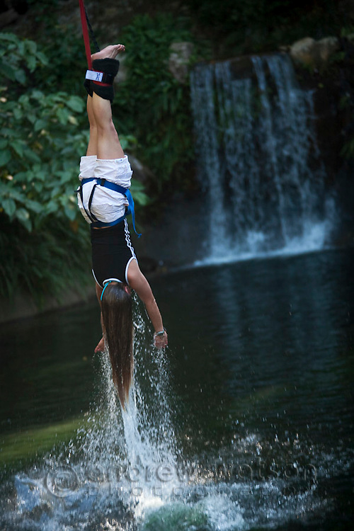 Woman bungy jumping into water at AJ Hackett bungy tower.  Smithfield, Cairns, Queensland, Australia