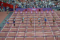 03.08.2012 Stratford, England. Great Britains Jessica Ennis (GBR) wins her heat of the 100m Hurdles with a new Olympic Record time during the Womens Heptathlon on day 7 of the London 2012 Olympic Games in the Olympic Stadium on the Olympic Park.