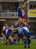 Bath Rugby's Luke Charteris  claims a line out<br /> <br /> Photographer Bob Bradford/CameraSport<br /> <br /> Gallagher Premiership - Bath Rugby v Northampton Saints - Saturday 22 September 2018 - The Recreation Ground - Bath<br /> <br /> World Copyright &copy; 2018 CameraSport. All rights reserved. 43 Linden Ave. Countesthorpe. Leicester. England. LE8 5PG - Tel: +44 (0) 116 277 4147 - admin@camerasport.com - www.camerasport.com