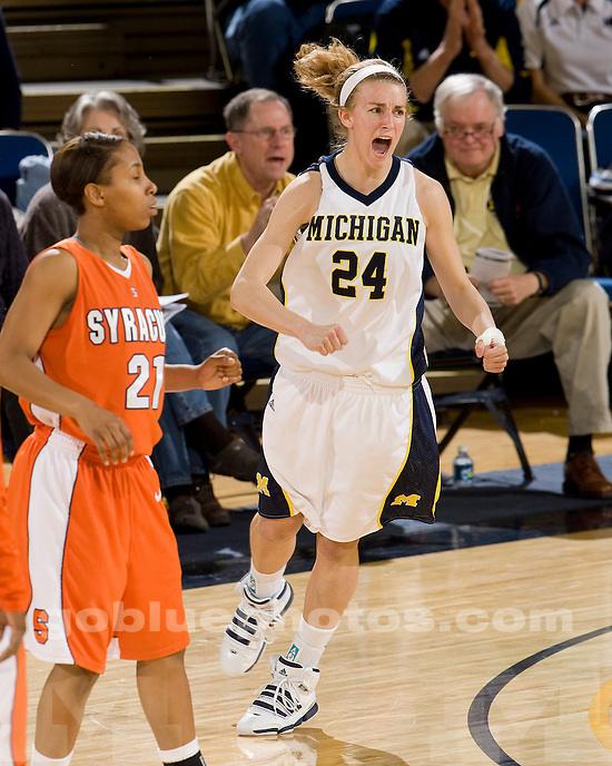 University of Michigan basketball (women) 78-52 victory over Syracuse in the quarterfinals of the WNIT at Crisler Arena on March 28, 2010.