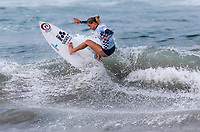Huntington Beach, CA - Saturday August 4, 2018: Pauline Ado in action during a World Surf League (WSL) World Championship Tour (WCT) Round 3 heat at the 2018 Vans U.S. Open of Surfing on South side of the Huntington Beach pier.