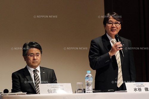 January 10, 2017, Tokyo, Japan - Suntory Beer Limited president Tetsu Mizutani (R) and Suntory Spirits Limited president Sho Semba announce the companies' business strategy in Tokyo on Tuesday, January 10, 2017. Suntory Beer will launch a new Premium Malt's beer in March for the government's Premium Friday campaign. (Photo by Yoshio Tsunoda/AFLO)
