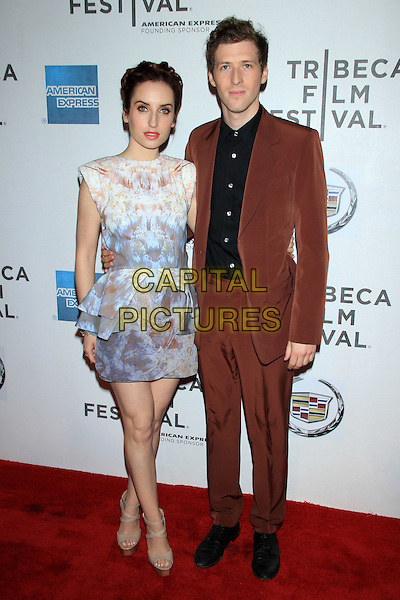 "Zoe Lister-Jones and Daryl Wein.The 2012 Tribeca Film Festival World Premiere of ""Lola Versus"" at the Tribeca Performing Arts Center, New York, NY, USA..April 24th, 2012.full length dress peplum blue white beige print black shirt brown suit.CAP/LNC/TOM.©LNC/Capital Pictures."