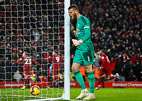 Manchester United's David De Gea reacts after his side went 2-1 down <br /> <br /> Photographer AlexDodd/CameraSport<br /> <br /> The Premier League - Liverpool v Manchester United - Sunday 16th December 2018 - Anfield - Liverpool<br /> <br /> World Copyright &copy; 2018 CameraSport. All rights reserved. 43 Linden Ave. Countesthorpe. Leicester. England. LE8 5PG - Tel: +44 (0) 116 277 4147 - admin@camerasport.com - www.camerasport.com