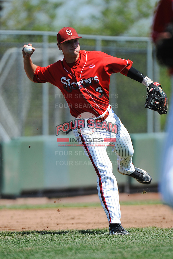 St. John's University Redstorm infielder Sean O'Hare (3) during game against the University of Notre Dame Fighting Irish at Jack Kaiser Stadium on May 12, 2013 in Queens, New York. St. John's defeated Notre Dame 2-1.      . (Tomasso DeRosa/ Four Seam Images)