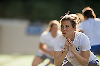 Seattle, Washington - Saturday, July 2nd, 2016: Seattle Reign FC defender Rachel Corsie (4) warms up prior to a regular season National Women's Soccer League (NWSL) match between the Seattle Reign FC and the Boston Breakers at Memorial Stadium. Seattle won 2-0.