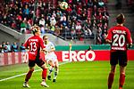01.05.2019, RheinEnergie Stadion , Köln, GER, DFB Pokalfinale der Frauen, VfL Wolfsburg vs SC Freiburg, DFB REGULATIONS PROHIBIT ANY USE OF PHOTOGRAPHS AS IMAGE SEQUENCES AND/OR QUASI-VIDEO<br /> <br /> im Bild | picture shows:<br /> Anna Blaesse (VfL Wolfsburg #9) klärt vor Sandra Starke (SC Freiburg Frauen #13), <br /> <br /> Foto © nordphoto / Rauch