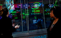 Market results are seen from the Nasdaq building at Times Square before the Nasdaq Management discusses Q4 2011 results programed for next Wednesday in New York, United States. 31/01/2012.  Photo by Eduardo Munoz Alvarez / VIEWpress.