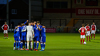 The Leicester City U21s have a huddle before the match <br /> <br /> Photographer Alex Dodd/CameraSport<br /> <br /> The EFL Checkatrade Trophy - Northern Group B - Fleetwood Town v Leicester City U21 - Tuesday September 11th 2018 - Highbury Stadium - Fleetwood<br />  <br /> World Copyright &copy; 2018 CameraSport. All rights reserved. 43 Linden Ave. Countesthorpe. Leicester. England. LE8 5PG - Tel: +44 (0) 116 277 4147 - admin@camerasport.com - www.camerasport.com
