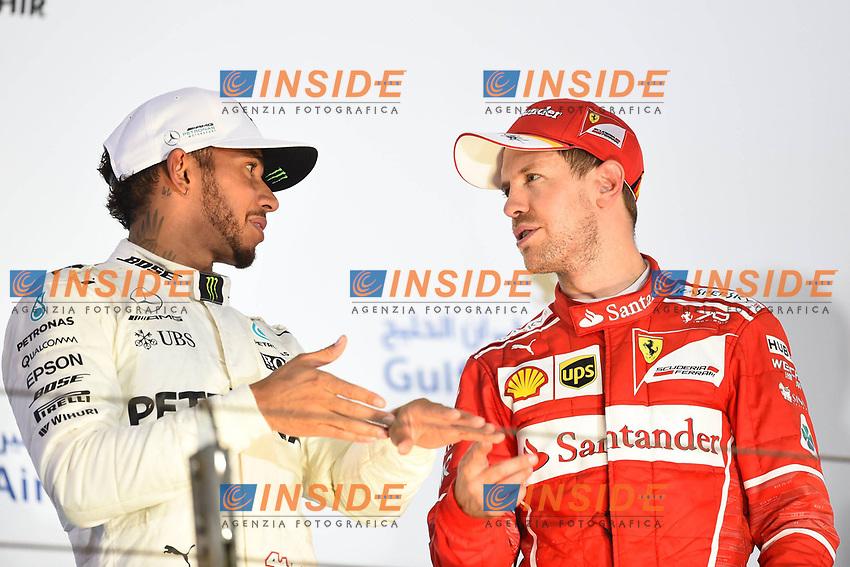 Sakhir (Bahrain) 16/04/2017 - gara F1 / foto Imago/Insidefoto<br /> nella foto: Sebastian Vettel-Lewis Hamilton ONLY ITALY
