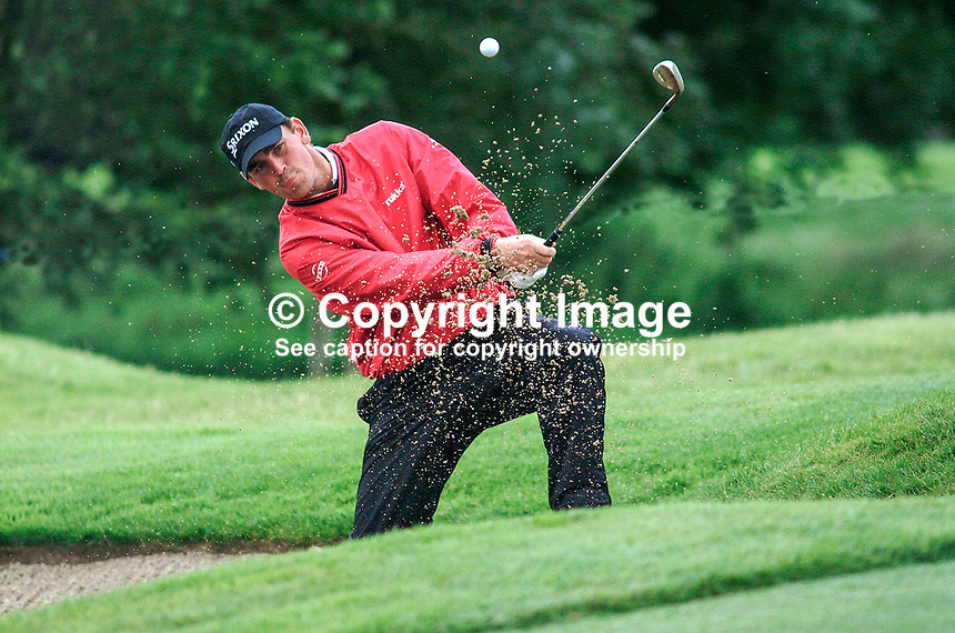 Thomas Bjorn, Thomas Björn, professional golfer, Denmark, plays out of a bunker. Picture taken during practice for the Smurfit European Golf Champsionship at the K Club, Co Kildare, Rep of Ireland. Ref: 200207025683..Copyright Image from Victor Patterson, 54 Dorchester Park, Belfast, UK, BT9 6RJ..Tel: +44 28 9066 1296.Mob: +44 7802 353836.Voicemail +44 20 8816 7153.Skype: victorpattersonbelfast.Email: victorpatterson@mac.com.Email: victorpatterson@ireland.com (back-up)..IMPORTANT: If you wish to use this image or any other of my images please go to www.victorpatterson.com and click on the Terms & Conditions. Then contact me by email or phone with the reference number(s) of the image(s) concerned.