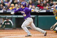 LSU Tigers catcher Kade Scivicque (22) follows through on his swing during the NCAA baseball game against the Baylor Bears on March 7, 2015 in the Houston College Classic at Minute Maid Park in Houston, Texas. LSU defeated Baylor 2-0. (Andrew Woolley/Four Seam Images)
