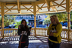 Jessica Young, a media teacher from Orange Glen High School in San Diego County, was named a 2012 JEA Rising Star recipient in January. At the recent National High School Journalism Convention Mercedez McNabb and Ms. Young shoot portraits near The Alamo.