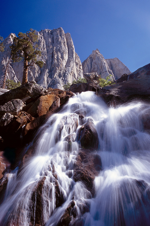 A refreshing waterfall drops beside the trail for hikers heading toward  the Kaweah Gap in Sequoia NP.