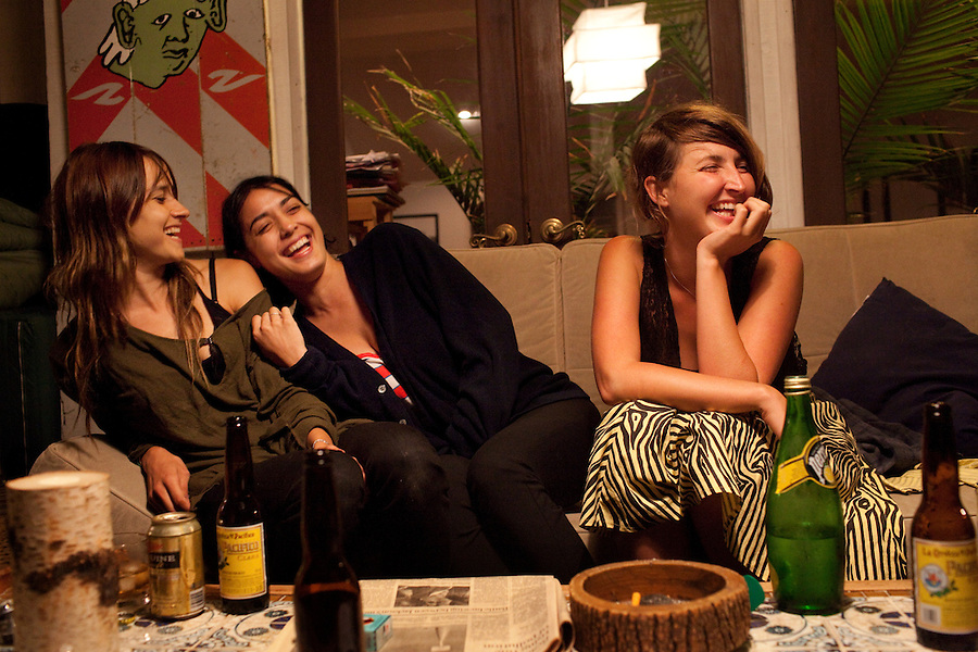 Los Angeles, California, August 1, 2009 - From left, Warpaint guitarist/keyboardist, Theresa Wayman, guitarist, Emily Kokal and bassist, Jenny Lee Lindberg on the balcony of Moonrats guitarist, Nathan Thelen's home in the hills above Studio City. The two bands just finished a 10-day tour of the west coast..