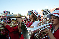 STANFORD, CA-OCTOBER 23, 2011- Sophmore Toni Kokenis plays with the band in front of a sellout crowd at the Stanford vs University of Washington football game at Stanford Stadium.