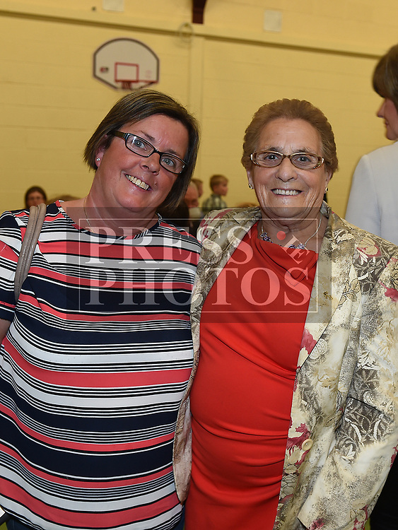 June and Lily KIrk at the after mass party in the Monastery National School Ardee for Canon Peter Murphy who was celebrating 40 years in the priesthood. Photo:Colin Bell/pressphotos.ie