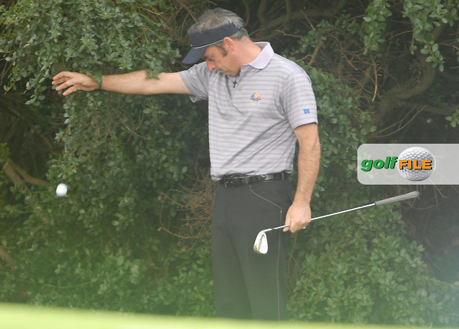 23rd September, 2006. .European Ryder Cup Team player Paul McGinley drops a shot on the 9th green during the afternoon foursomes session of the second day of the 2006 Ryder Cup at the K Club in Straffan, County Kildare in the Republic of Ireland..Photo: Eoin Clarke/ Newsfile.
