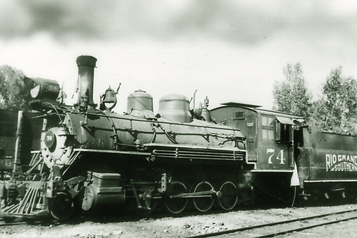 3/4 fireman's-side view of RGS #74 at Ridgway.<br /> RGS  Ridgway, CO  ca. 1950