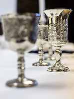 NWA Democrat-Gazette/JASON IVESTER --03/30/2015--<br /> Kiddush cups are set on display on Monday, March 30, 2015, inside the Lost Bridge Community Center in Garfield.