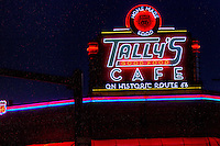 Tally's Cafe on Route 66 in Tulsa Oklahoma is a typical 50's style diner with lots of neon and a retro look.