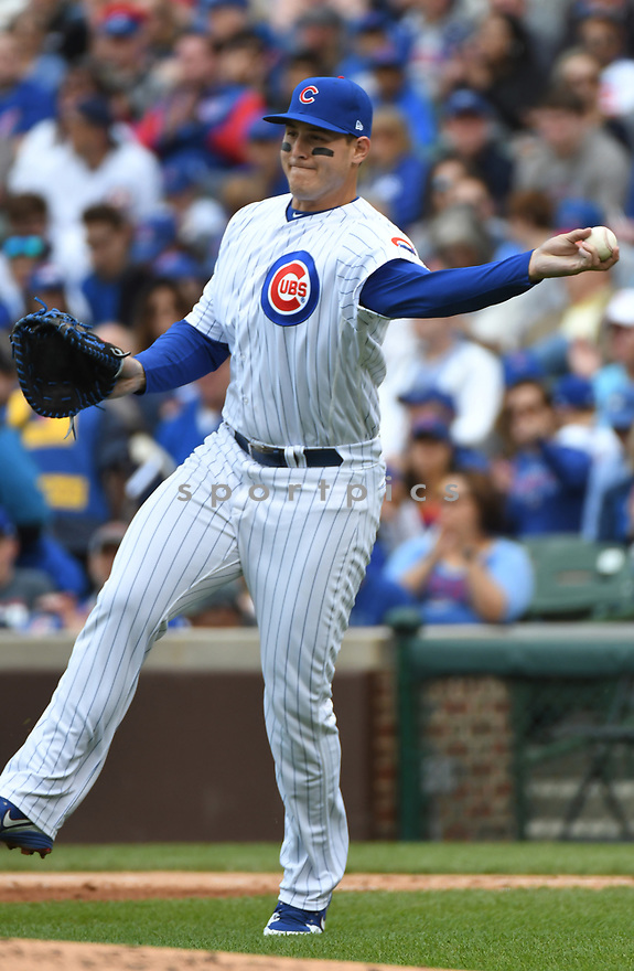 CHICAGO IL - May 21, 2017: Anthony Rizzo #44 of the Chicago Cubs during a game against the Milwaukee Brewers on May 21, 2017 at Wrigley Field in Chicago, IL. The Cubs beat the Brewers 13-6.(David Durochik/ SportPics)