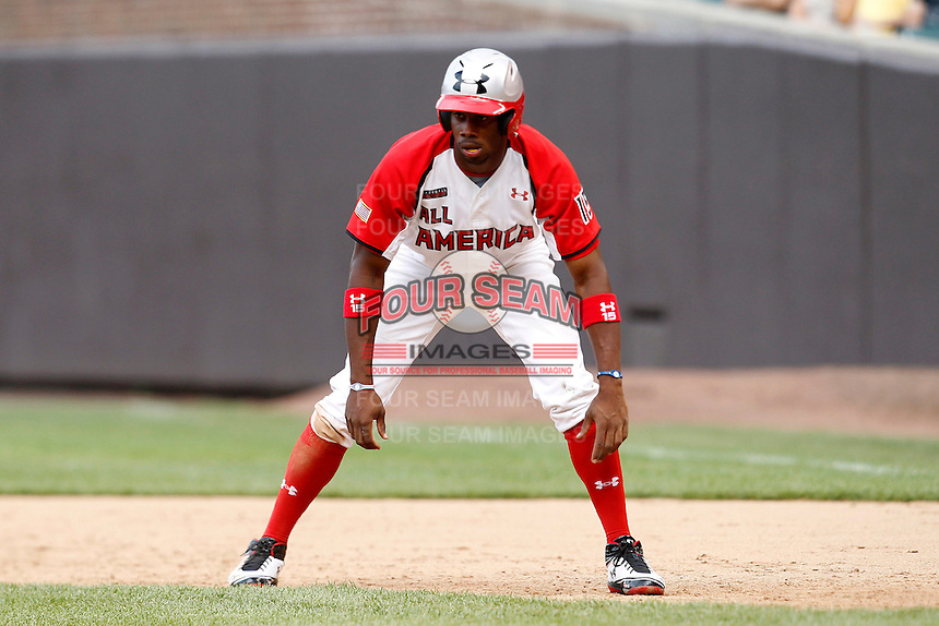 Outfielder Fernelys Sanchez #15 during the Under Armour All-American Game at Wrigley Field on August 13, 2011 in Chicago, Illinois.  (Mike Janes/Four Seam Images)