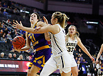 SIOUX FALLS, SD - MARCH 8: Grace Gilmore #21 of the Western Illinois Leathernecks drives to the basket against the Oral Roberts Golden Eagles defense at the 2020 Summit League Basketball Championship in Sioux Falls, SD. (Photo by Richard Carlson/Inertia)