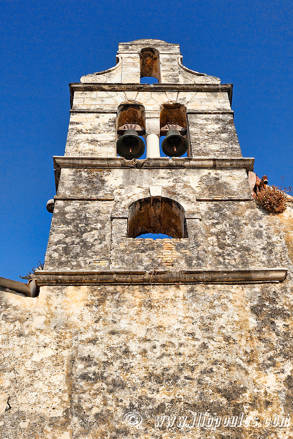 A very old church tower in the old town of Corfu, Greece