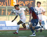 Shaun Pejic #4 of Crystal Palace Baltimore moves towards Gregory Richardson #20 of the Carolina Railhawks during an NASL match at Paul Angelo Russo Stadium in Towson, Maryland on September 18 2010. Carolina won 4-2.