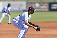 Peoria Javelinas third baseman Hudson Potts (13), of the San Diego Padres organization, during an Arizona Fall League game against the Scottsdale Scorpions at Peoria Sports Complex on October 18, 2018 in Peoria, Arizona. Scottsdale defeated Peoria 8-0. (Zachary Lucy/Four Seam Images)