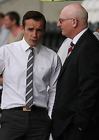 Managers Danny Lennon and John McGlynn chat prematch in the St Mirren v Heart of Midlothian Clydesdale Bank Scottish Premier League match played at St Mirren Park, Paisley on 15.9.12.