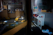 New York, New York.October 30, 2012..A Fed-x store that was flooded by Hurricane Sandy in lower Manhattan.