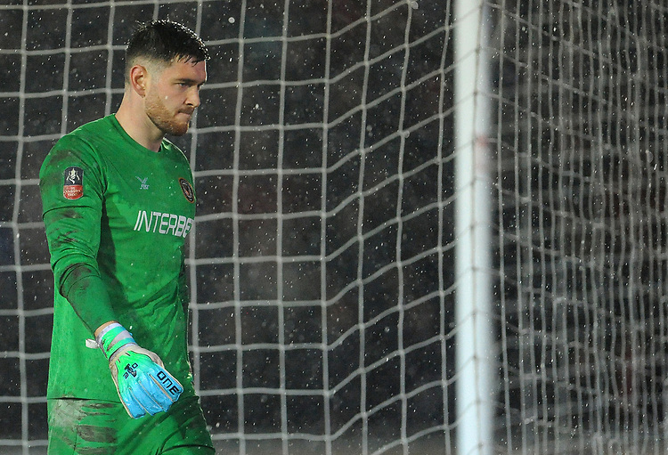 Newport County's Joe Day during the game <br /> <br /> Photographer Ian Cook/CameraSport<br /> <br /> Emirates FA Cup Fourth Round Replay - Newport County v Middlesbrough - Tuesday 5th February 2019 - Rodney Parade - Newport<br />  <br /> World Copyright &copy; 2019 CameraSport. All rights reserved. 43 Linden Ave. Countesthorpe. Leicester. England. LE8 5PG - Tel: +44 (0) 116 277 4147 - admin@camerasport.com - www.camerasport.com