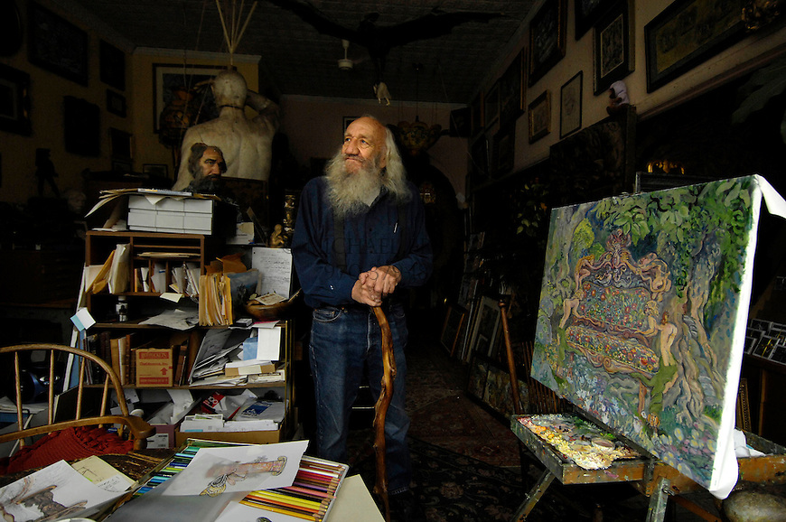 C.H. Rockey in his downtown Manitou Springs, CO studio. Michael Brands for The New York Times.