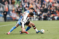 8th February 2020; Coliseum Alfonso Perez, Madrid, Spain; La Liga Football, Club Getafe Club de Futbol versus Valencia; Ferran Torres (Valencia CF) challenges Mathias Olivera (Getafe CF)