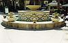Custom Diamond Weave mosaic outdoor fountain shown in Verde Luna, Verde Alpi, Botticino, Giallo Reale, and Rosa Verona.
