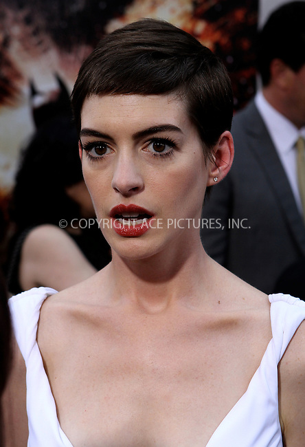 WWW.ACEPIXS.COM . . . . .  ....July 16 2012, New York City....Actress Anne Hathaway at 'The Dark Knight Rises' premiere at AMC Lincoln Square Theater on July 16, 2012 in New York City.....Please byline: NANCY RIVERA- ACEPIXS.COM.... *** ***..Ace Pictures, Inc:  ..Tel: 646 769 0430..e-mail: info@acepixs.com..web: http://www.acepixs.com