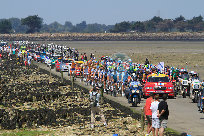 The pelethon crosses the Passage du Gois tidal road at the start of the 1st stage form Passage du Gois to Mont des Alouettes of the 2011 Tour de France, 2nd July 2011 (Photo by Eoin Clarke/NEWSFILE)