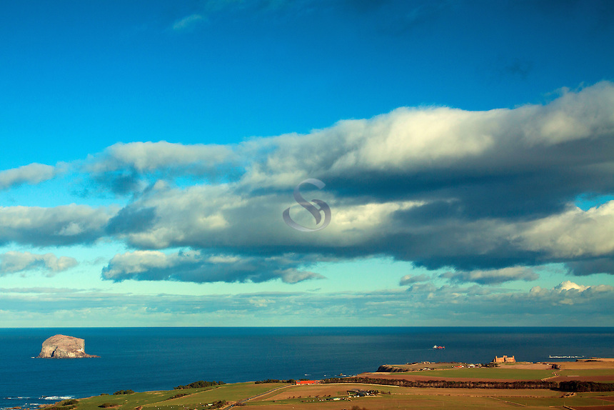 Bass Rock and Tantallon Castle from North Berwick Law, East Lothian Coastline