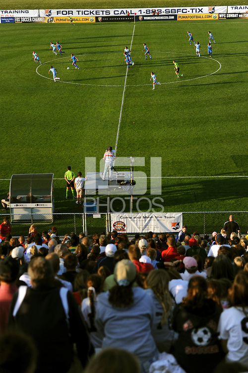 Fans watch the action on the field. Sky Blue FC defeated the Boston Breakers 2-1 during a Women's Professional Soccer match at Yurcak Field in Piscataway, NJ, on May 31, 2009.