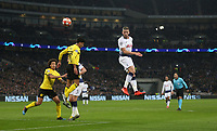 Tottenham Hotspur's Toby Alderweireld with a header towards goal<br /> <br /> Photographer Rob Newell/CameraSport<br /> <br /> UEFA Champions League Round of 16 First Leg - Tottenham Hotspur v Borussia Dortmund - Wednesday 13th February 2019 - Wembley Stadium - London<br />  <br /> World Copyright © 2018 CameraSport. All rights reserved. 43 Linden Ave. Countesthorpe. Leicester. England. LE8 5PG - Tel: +44 (0) 116 277 4147 - admin@camerasport.com - www.camerasport.com