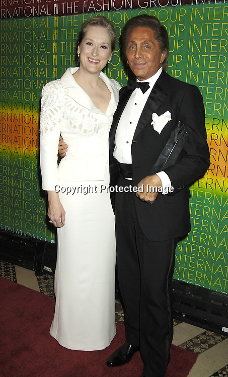 Meryl Streep and Valentino ..at The Fashion Group International's  22nd Annual Night of Stars Awards on October 27, 2005 at Cipriani. ..Sandra Bullock was presented with the Hunanitarian Award..Photo by Robin Platzer, Twin Images