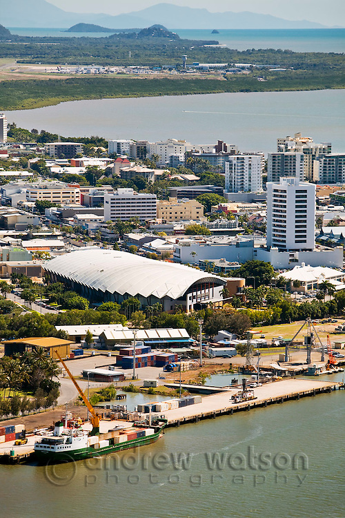 Aerial view of Cairns Convention Centre and central business district.  Cairns, Queensland, Australia
