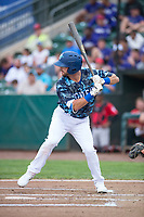 Ogden Raptors right fielder Matt Cogen (49) at bat during a Pioneer League game against the Billings Mustangs at Lindquist Field on August 17, 2018 in Ogden, Utah. The Billings Mustangs defeated the Ogden Raptors by a score of 6-3. (Zachary Lucy/Four Seam Images)