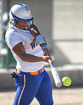 Wildcats' Briauna Carter hits against Colorado Northwestern during a college softball game at Edmonds Sports Complex Carson City, Nev., on Friday, April 17, 2015.<br /> Photo by Cathleen Allison